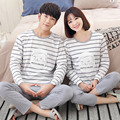 2017 Spring Fall Winter 100% Cotton Couple Pajamas Sets of Sleepcoat & Trousers Men & Women Family Nightclothes Lover Sleepwear