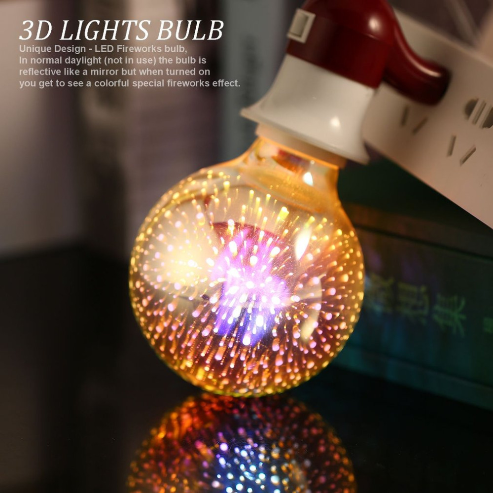 3D Fireworks LED Light Bulbs E27 4W G80 Ball Lights Holiday Christmas Party Decoration Lamp Star Fairy Night Light Drop Shipping