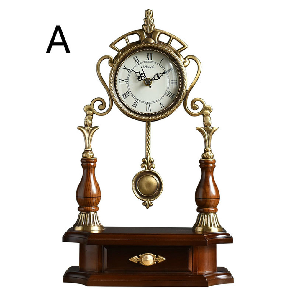 1PCS New Chinese style lightweight solid wood with copper clock copper clock living room home simple clocks for LU607554