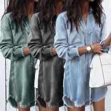 a0081a1ea4 Moda kobiety z długim rękawem luźne jeansowe koszule sukienka lato Casual  kobiet Mini sukienka panie skręcić