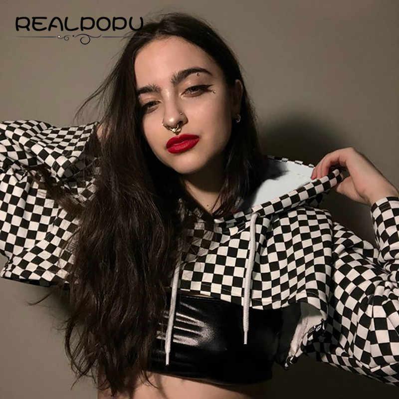 Realpopu, свободный короткий топ с расклешенными рукавами, женская футболка с капюшоном, с длинным рукавом, в клетку, тканая, модная, кавайная, 2018, летняя