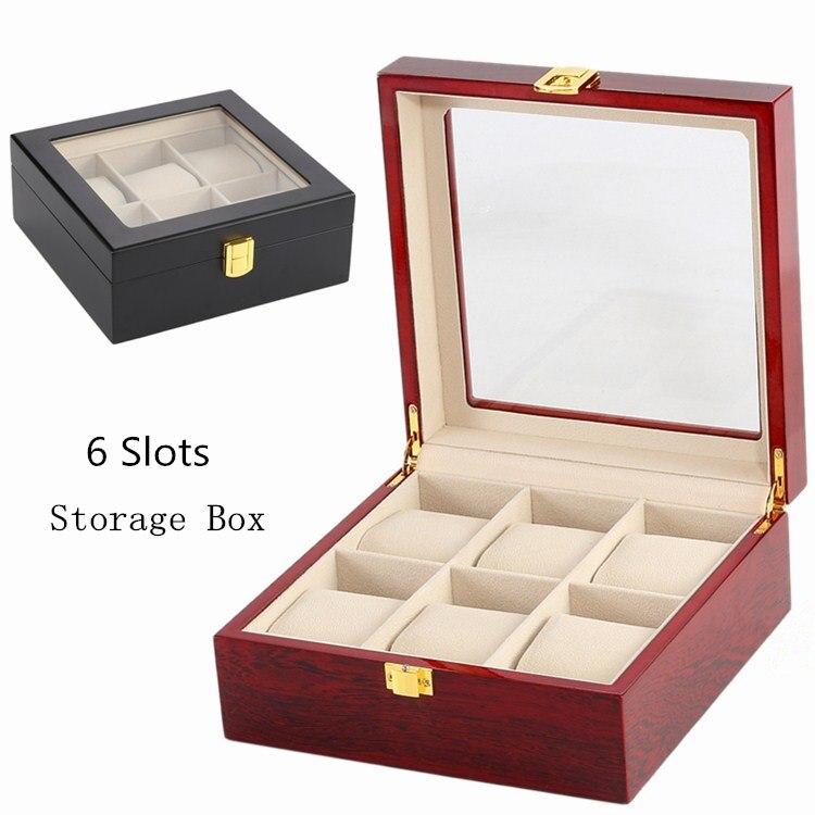Saatler'ten Saat Kutuları'de 6 yuvaları Siyah Renk saat saklama kutusu Kırmızı MDF saat vitrini Erkek Paketi Takı Hediye Kutusu Koleksiyonu Pencere Ile C026