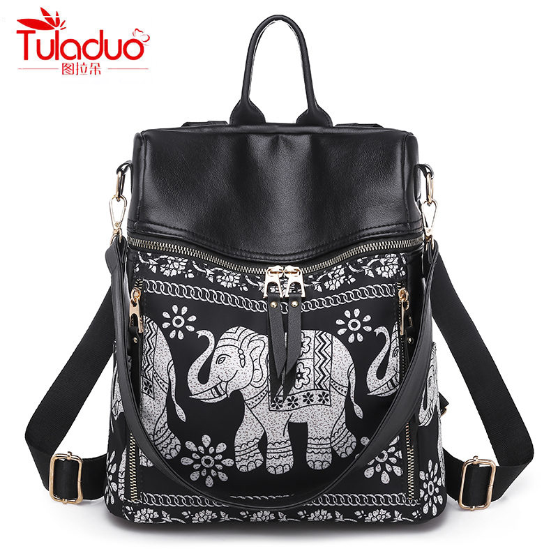 Fashion Multifunction Women Backpack High Quality PU Leather Women Backpacks Brand Large Capacity Ladies Elephant Backpack 2019