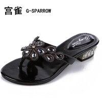 Chaussures femme 2017 de grande taille femmes sexy diamant foral romain 2.5 cm talon sandale appartements, femmes de mode de diamant sandale pantoufle 33-44