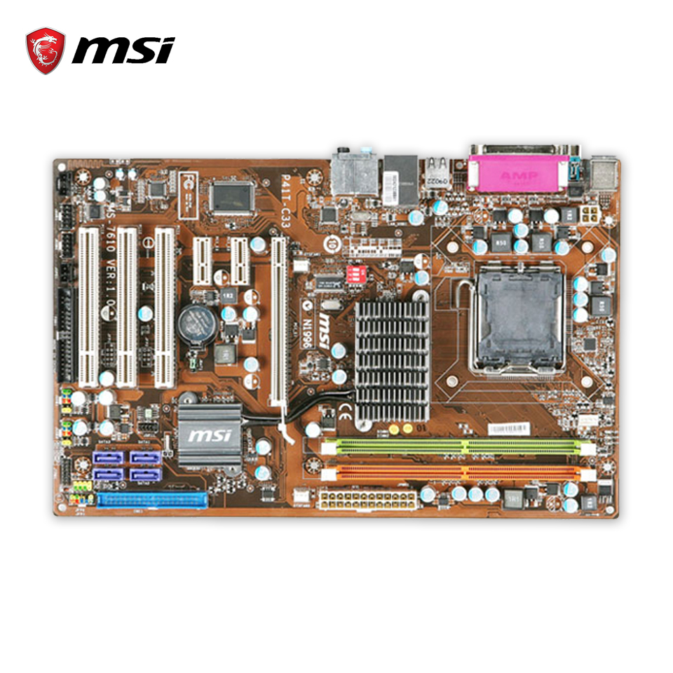MSI P41T-C33 Original Used Desktop Motherboard P41 Socket LGA 775 DDR2 SATA2 USB2.0 ATX used motherboard mainboard for msi p31 neo2 lga 775 ddr2 usb2 0