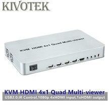 KVM HDMI 4X1 Quald Muti Viewer Seamless Mudar Switcher Splitter Adaptador com Controle Remoto para HDTV PC computador Frete Grátis