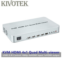 KVM HDMI 4X1 Quald Muti Viewer Switcher Splitter Seamless Switch Adapter with Remote Control for HDTV PC Computer Free Shipping