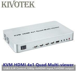 Image 1 - KVM HDMI 4X1 Quald מוטי הצופה Switcher ספליטר מתג חלק מתאם עם שלט רחוק עבור HDTV מחשב מחשב משלוח חינם