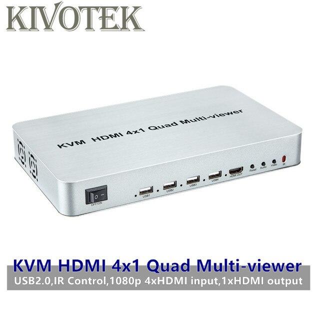 KVM HDMI 4X1 Quald מוטי הצופה Switcher ספליטר מתג חלק מתאם עם שלט רחוק עבור HDTV מחשב מחשב משלוח חינם