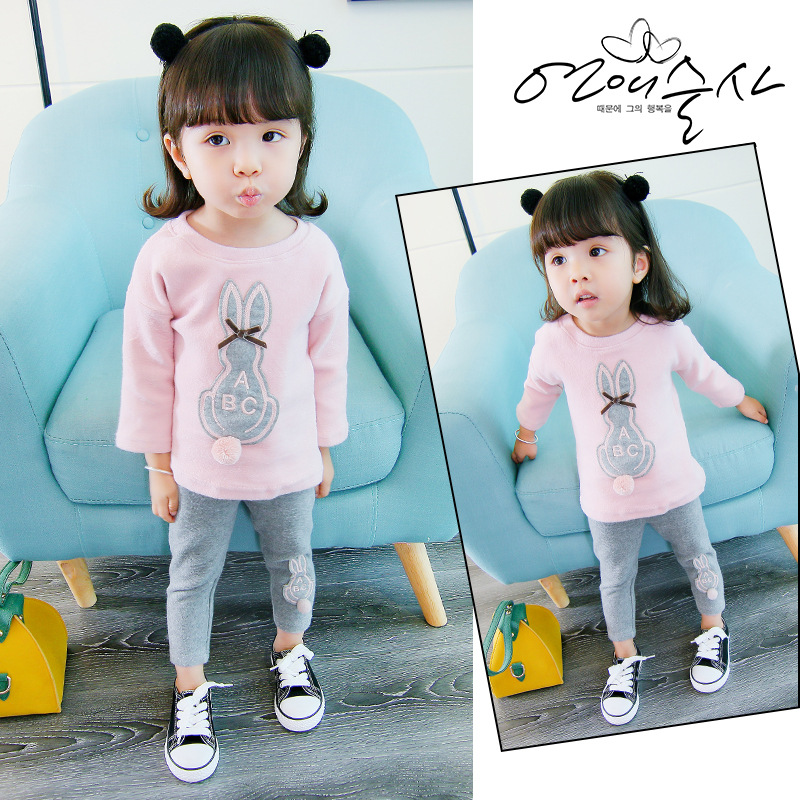 2017 autumn 0-3 year old girl new round neck size ABC rabbit two sets of suit factory direct sale