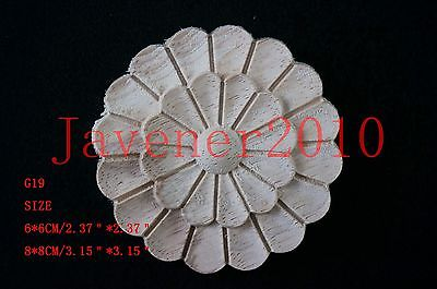 G19 -8x8cm Wood Carved Round Onlay Applique Unpainted Frame Door Decal Working Carpenter Flower