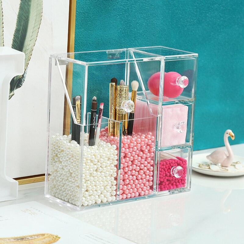 Organizador de maquillaje acrílico AF con 2 bolsas de perlas, caja de exhibición de cepillos de maquillaje, caja de almacenamiento de herramientas cosméticas, caja de accesorios de joyería - 5