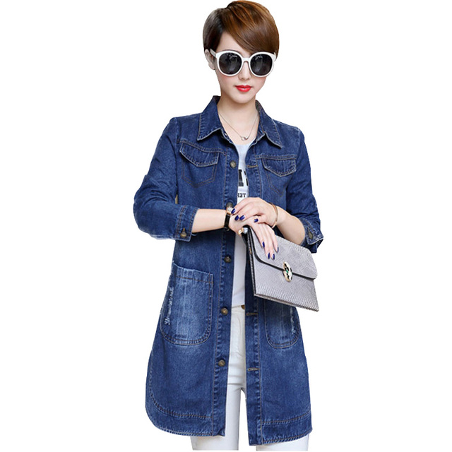 Winter and autumn cowboy jacket ladies long coat