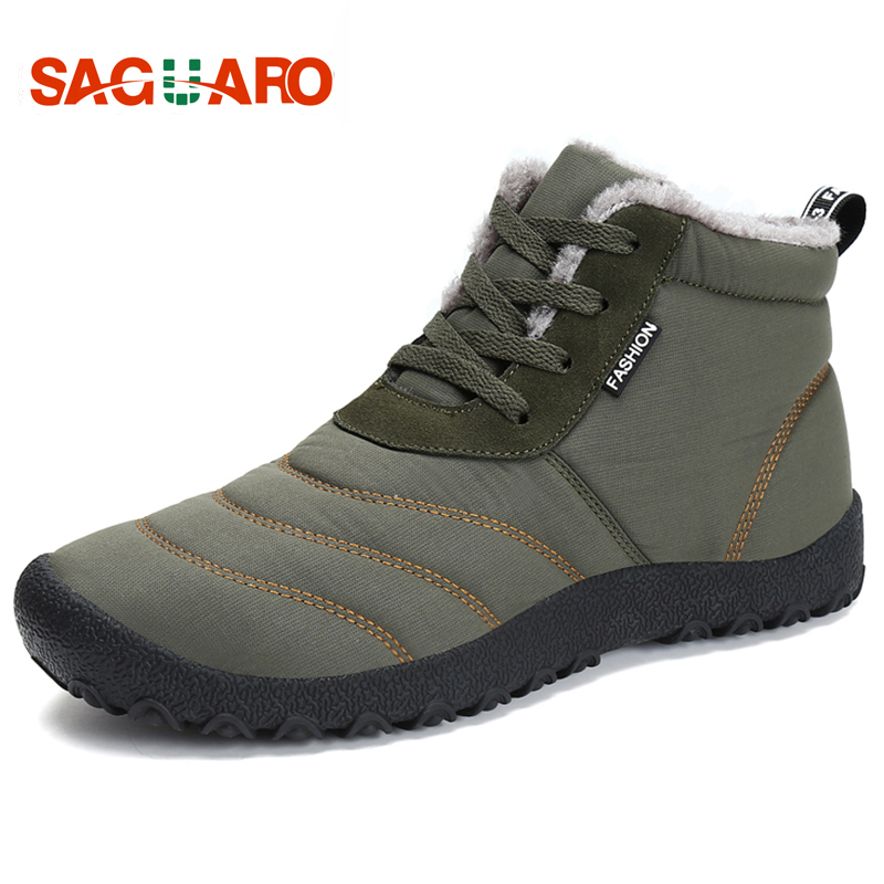 SAGUARO Super Warm Men Winter Boots for Man Warm Waterproof Rain Boots Shoes 2018 New Men's Ankle Snow Boot Botas Masculina цена