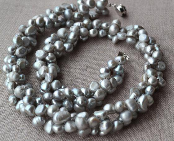 Grey Pearl Jewelry 46cm Aa 6 7mm Freshwater Necklace 100 Real Pearls Handmade In Choker Necklaces From Accessories On