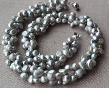 Grey Pearl Jewelry, 46cm AA 6-7mm Freshwater Pearl Necklace,100% Real Pearls Necklace,Handmade Jewelry