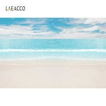 Laeacco Summer Sea Backdrops Sky Clouds Tropical Beach Wave Holiday Photography Backgrounds For Photo Studio Photocall Photozone