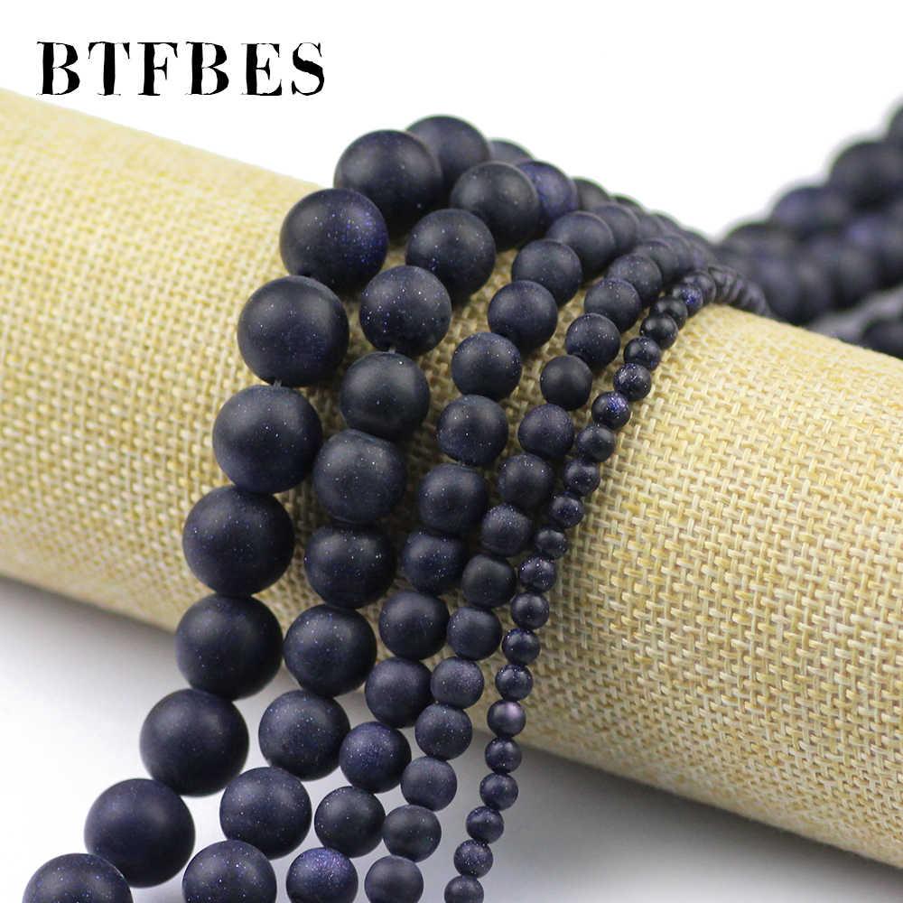 BTFBES Natural Matte กรวดหินหินทรายสีฟ้ารอบลูกปัด 4 6 8 10 12 มิลลิเมตรลูกหลวมลูกปัดเครื่องประดับสร้อยข้อมือสร้อยคอ DIY