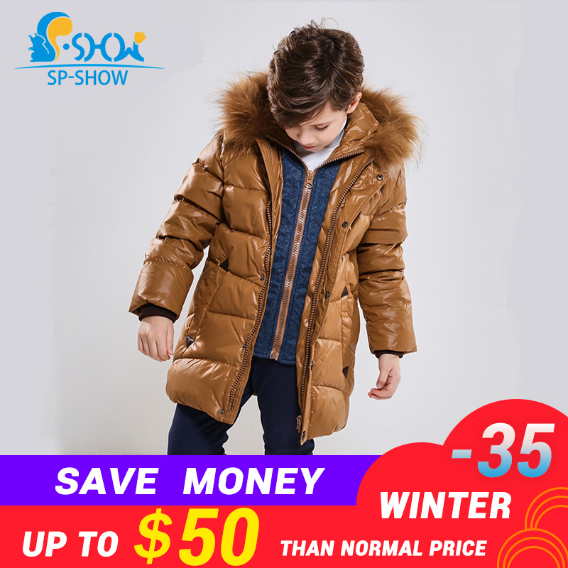 SP-SHOW Зимняя детская верхняя одежда куртка для мальчиков престижного бренда с капюшоном с меховой отделкой теплая куртка на возраст 4 до 9 лет...