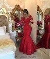Nuevo 2017 Red Sirena Vestidos de Noche Con Mangas Largas Listones Vestidos Formales Para La Fiesta de Boda Comunión Vestido De Festa