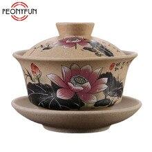 120 мл Чайная Посуда античная грубая керамика ручная роспись Gaiwan, чайная чашка керамическая чашка чайный набор кунг-фу чаша китайский чай мастер чашка супница