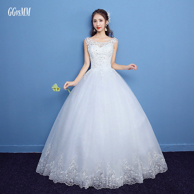 robe de mariee Ivory Formal Wedding Gowns Long 2018 Wedding Dresses White  Plus Scoop Tulle Appliques Beading Lace-Up Ball Gown 950d903cd51f
