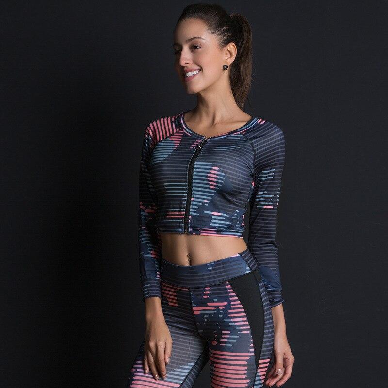 Women's Sport Suit Print Fitness Set Slim Leggings Breathable Yoga Set 2 Piece Zipper Sportswear T Shirt Sport Pants Tracksuit