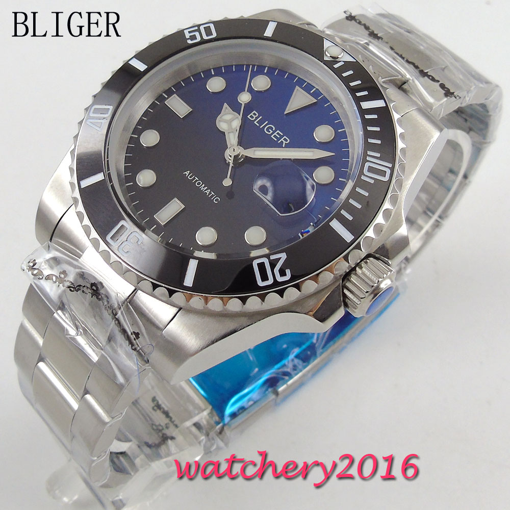 40mm Bliger black Blue Dial Sapphire Glass Date Window Stainless Steel Luminous Marks Miyota Automatic Movement Men's Watch bliger 40mm gray dial date blue ceramics bezel stainless steel case saphire glass automatic movement men s watch