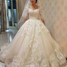 Baroque Summer V-Neck Wedding Dresses Ball gown wedding