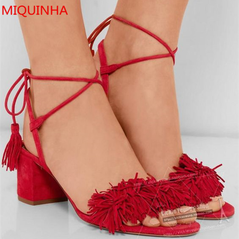 Wild Things Tasseled Red Suede Women Sandals Open Toe Fringe Ankle Strappy High Heels Gladiator Sandals Summer Shoes Woman куртка городская nixon meyer parka 2016 olive xl