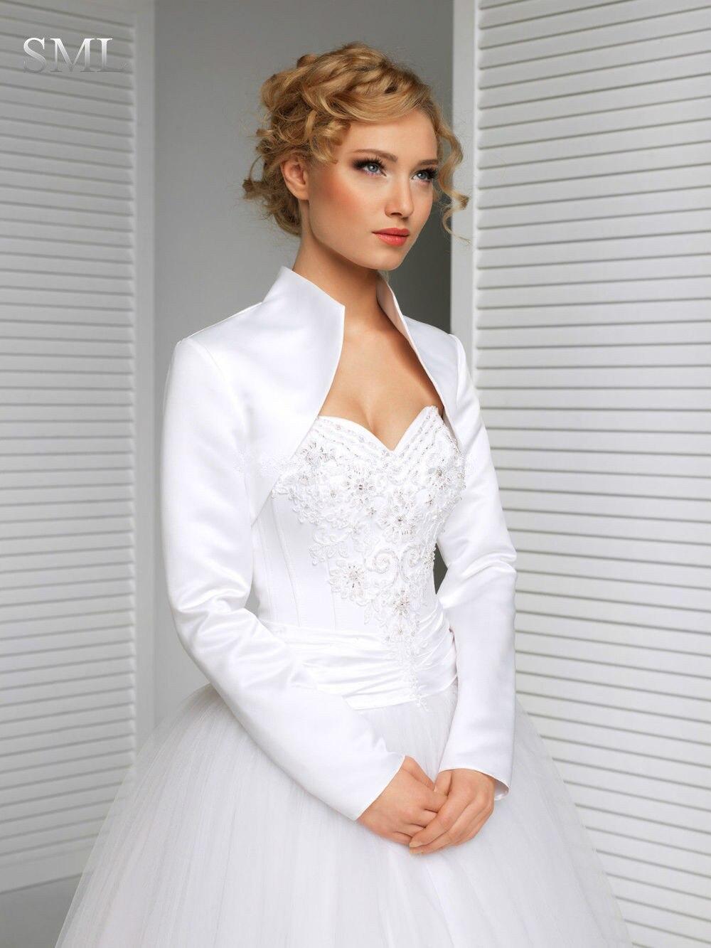 Sml New Bridal Satin Jacket Wrap Wedding Shrug Long Sleeve Bolero Abrigo Plumas Winter Cape Sudaderas Hombre Fourrure In Jackets From