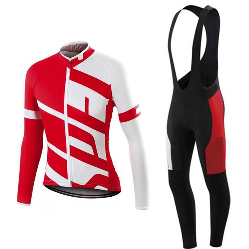 SL Pro RBX Team racing cycling kit Men Ropa ciclismo 2018 red black long sleeve Cycling Jersey And Bib pants with 9D gel pad sland team french open 2015 black red