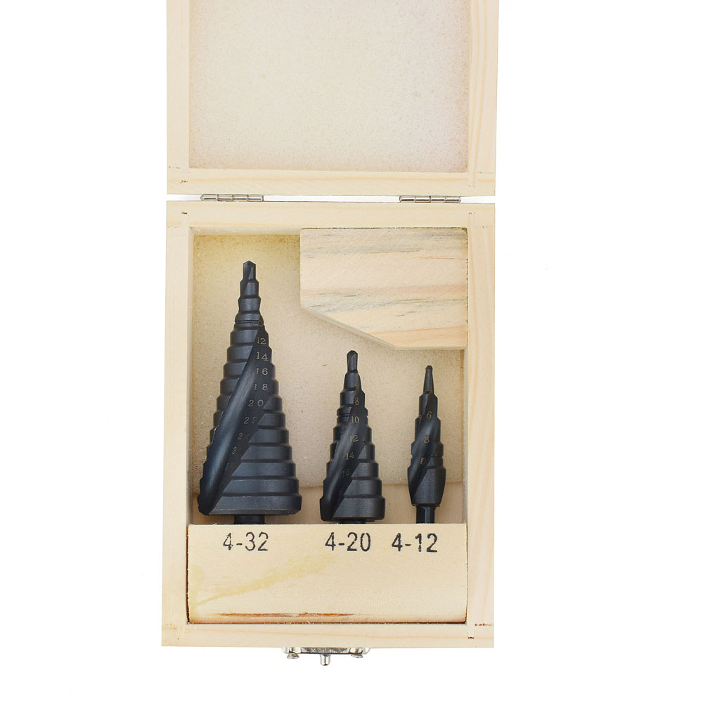 4-32MM 3PCS HSS cobalt step Drills with Nitrogen High Speed Steel Spiral for Metal Cone Drill Bit Set Triangle Shank Hole Cutter