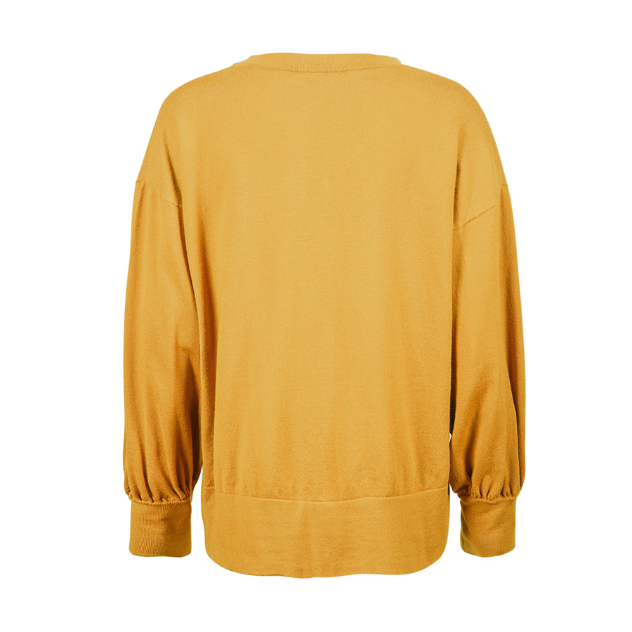 Online Shop Womens V Neck Yellow Pullover Women Long Knitted ...