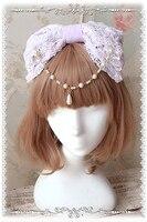 Lolita Prenses Firkete El Yapımı Tatlı kedi kulak Inci kristal KC Headdress Kafa Dantel Büyük Yay