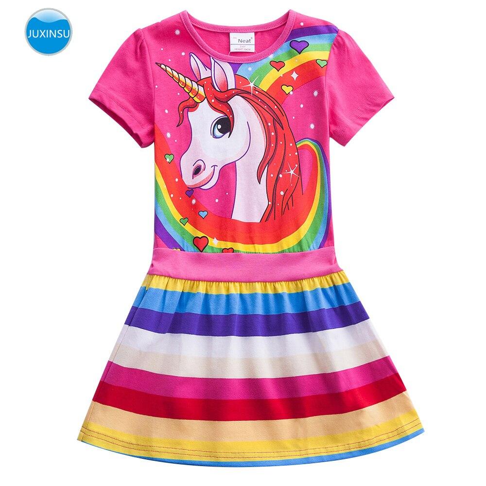 Juxinsu criança algodão menina verão curto-mangas compridas unicórnio vestido arco-íris pônei dos desenhos animados menina criança roupas menina 3-7 anos de idade h6219