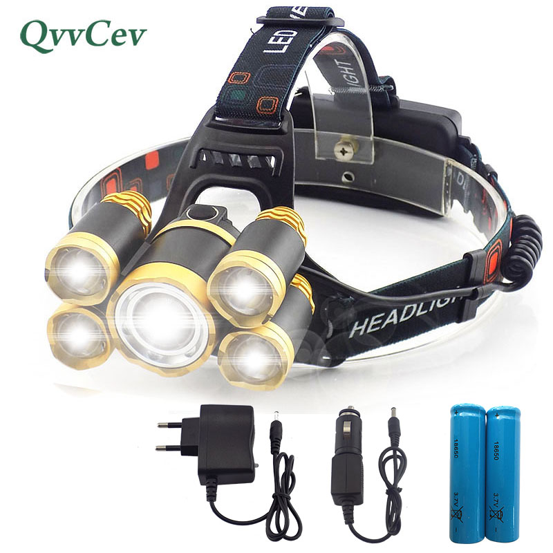 Super Bright Zoom Head Light Torch Camping 5 Led Headlamp Forehead Flashlight Fishing Hunting with 18650 Battery Head Flashlight