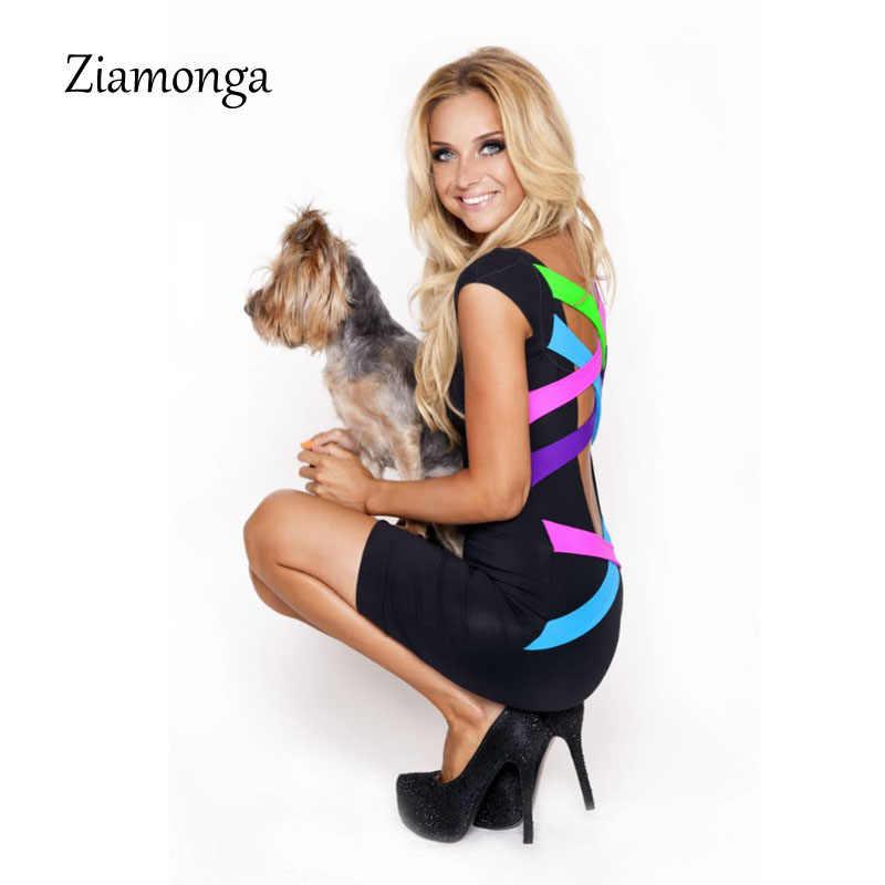 ... S- XL XXL Plus Size Women Clothing Sexy Black Bandage Mini Pencil Dress  Neon Strappy ... 49ecf30fd64f
