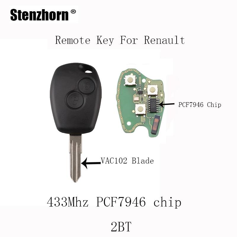 Stenzhorn 2Buttons PCF7946 chip Remote keys For Renault Megane Modus Clio Kangoo Logan Sandero Duster 433Mhz&VAC102 Blade