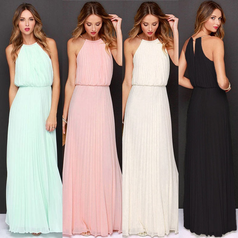 New Summer Women Sleeveless Halter Maxi Cheap Bridesmaids Dresses Elegant Off Shoulder Long Casual Beach Dresses Robe De Soiree(China)