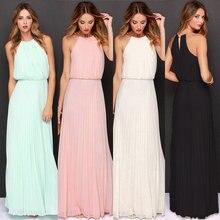 Новые летние женские платья макси без рукавов с лямкой на шее, дешевые платья подружек невесты, Элегантные Длинные повседневные пляжные платья с открытыми плечами, Robe De Soiree