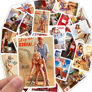 25Pcs Mixed World War II Sexy Pin up Girl Poster Stickers Waterproof DIY Stickers for Car Phone Motorcycle Luggage Laptop Decal(China)