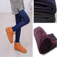 2015 Winter Warm Jeans Leggings Women Thicken Warm Pants Fashion Fleeces Inside Denim Trousers Footless Leggings