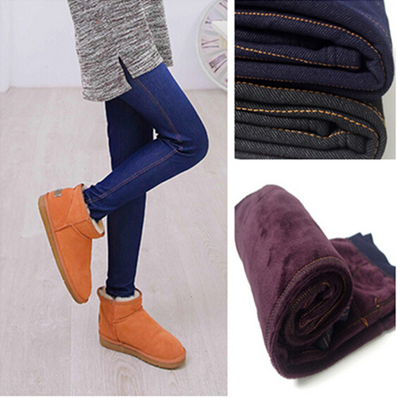 2016 Winter Warm Jeans Leggings Women Thicken Warm Pants Fashion Fleeces Inside Denim Trousers Footless Leggings With Pockets