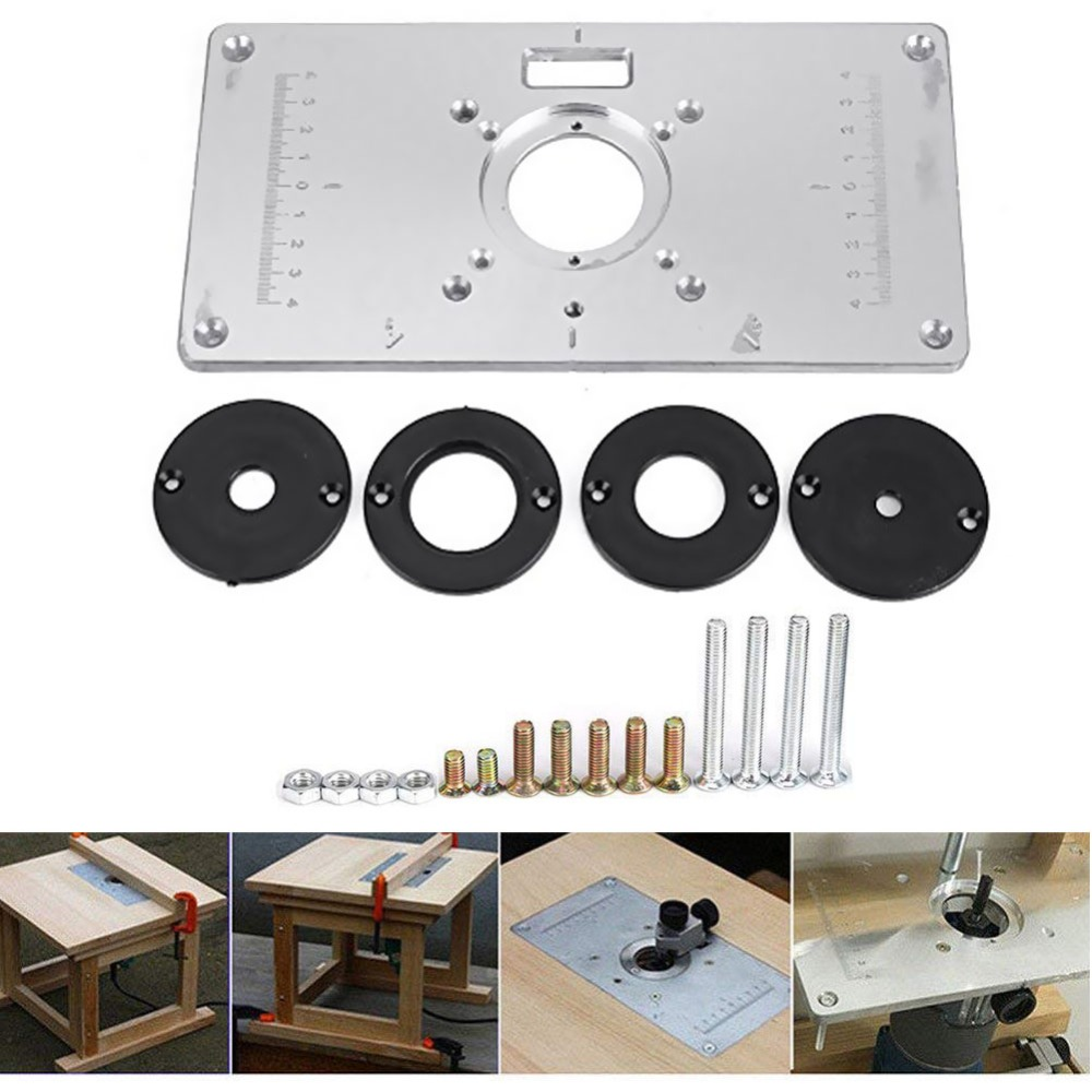 1Set 700C Aluminum Router Table Insert Plate 4 Rings Screws Woodworking Benches Engrving Machine Wood Work Carved Bench Tools B2