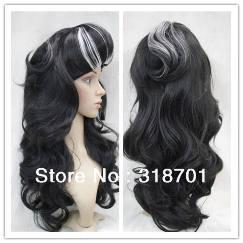 aliexpress new arrival long wavy party costume wigs cosplay hair black with white