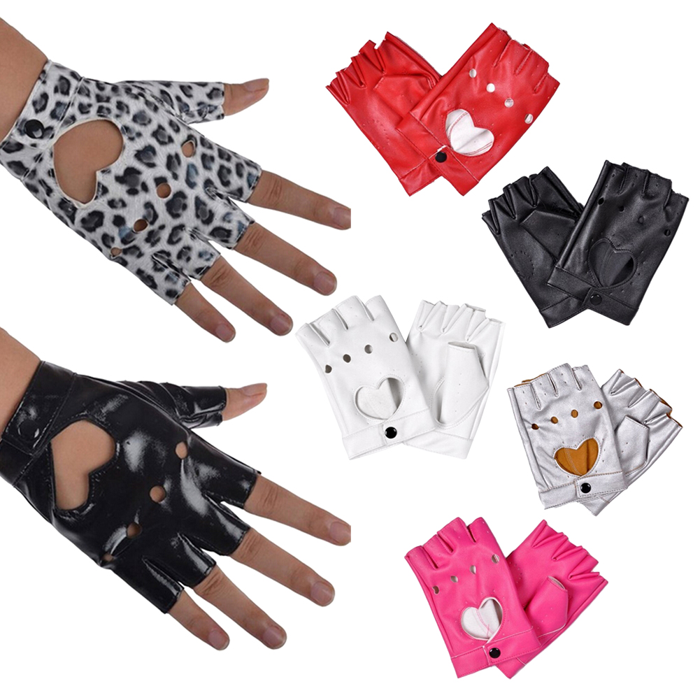 New Women PU Leather Glove Car Fingerless Performance Gloves