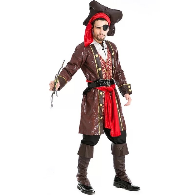 66683cc1154 US $73.55 8% OFF|Adult Men Halloween Movie Captain Rogue Skullduggery  Pirate Costume Clothes Male Cosplay Rogue Bucaneer Corsair Jacket Outfit on  ...