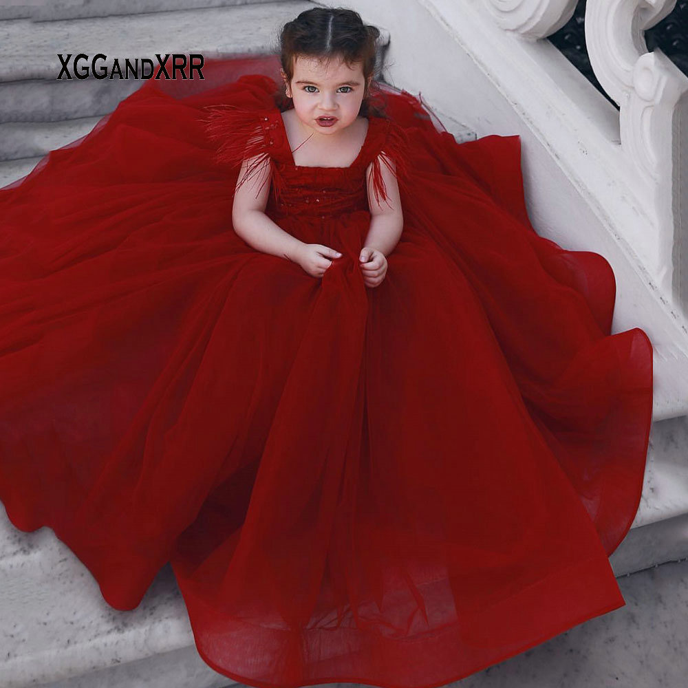 Luxury Ball Gown   Flower     Girl     Dress   2019 Burgundy Square Feather Shoulder Sequins Long pageant   dresses   for   girls   First comunion