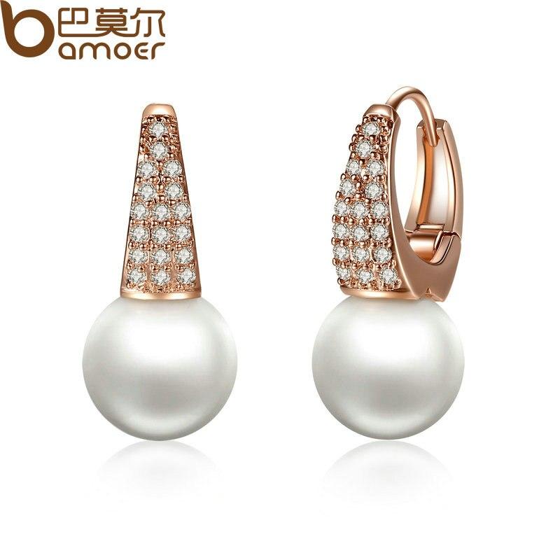 BAMOER Rose Gold Color Earrings for Women with Simulated Pearls & Crystals Earrings For Women In Dangle Earrings JIE060 цены онлайн